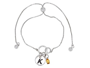 Yellow citrine rhodium over sterling silver adjustable bolo bracelet 0.18ct