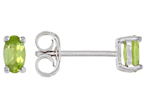 Green Peridot Rhodium Over Silver Earrings .36ctw