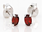 Red Garnet Rhodium Over Silver Earrings .45ctw