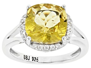 Yellow Apatite Rhodium Over Sterling Silver Ring 3.90ctw