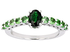 Green Tsavorite Rhodium Over Sterling Silver Ring 1.25ctw