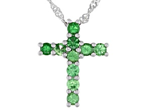 "Green Tsavorite Rhodium Over Sterling Silver Cross Pendant With 18"" Singapore Chain 0.77ctw"