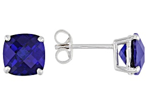 Blue Lab Created Sapphire Rhodium Over Sterling Silver Stud Earrings 4.09ctw