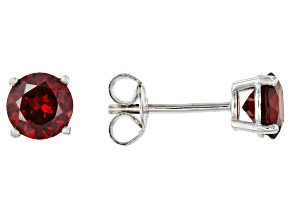 Red Garnet Rhodium Over Sterling Silver Stud Earrings 1.90ctw