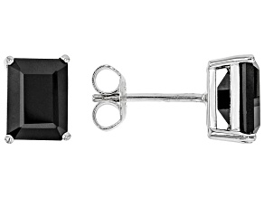 Black Spinel Rhodium Over Sterling Silver Stud Earrings 3.63ctw