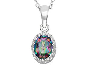 Natural Rainbow Green Topaz Sterling Silver Pendant 1.21ctw