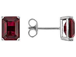 Red Lab Created Ruby Rhodium Over Sterling Silver Stud Earrings 3.90ctw