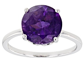 Purple African Amethyst Rhodium Over Sterling Silver Solitaire Ring 2.74ct