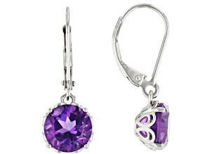 Purple African Amethyst Rhodium Over Sterling Silver Dangle Earrings 2.95ctw