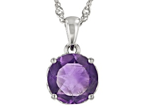 Purple African Amethyst Rhodium Over Sterling Silver Solitaire Pendant With Chain  2.74ct