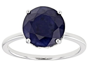 Blue Sapphire Rhodium Over Sterling Silver Ring 2.74ct
