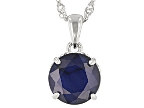 Blue Sapphire Rhodium Over Sterling Silver Solitaire Pendant With Chain 3.57ct