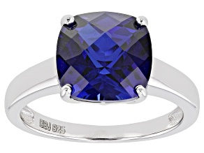 Blue Lab Created Sapphire Rhodium Over Sterling Silver Solitaire Ring 4.50ct