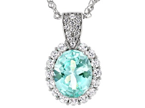 Green Lab Created Spinel Rhodium Over Silver Pendant With Chain 3.14ctw