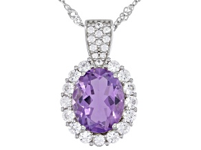 Purple Amethyst Rhodium Over Silver Pendant with Chain 2.56ctw