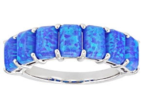Blue Lab Created Opal Rhodium Over Sterling Silver Ring