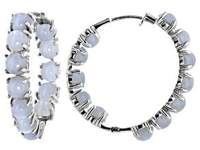 Blue Angelite Rhodium Over Sterling Silver Inside/Outside Hoop Earrings