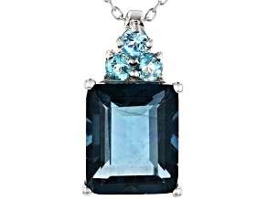 Teal fluorite rhodium over sterling silver pendant with chain 6.49ctw