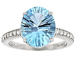 Blue Topaz Rhodium Over Sterling Silver Ring 4.24ctw