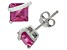 Lab Created Pink Sapphire Sterling Silver Stud Earrings 2.48ctw
