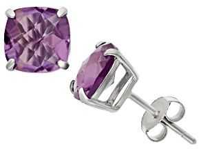 Amethyst Sterling Silver Stud Earrings 4.08ctw