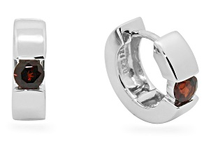 Garnet Sterling Silver Hoop Earrings .50ctw