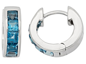 London Blue Topaz Sterling Silver Hoop Earrings .90ctw
