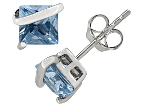 Lab created Aquamarine Sterling Silver Stud Earrings 2.48ctw