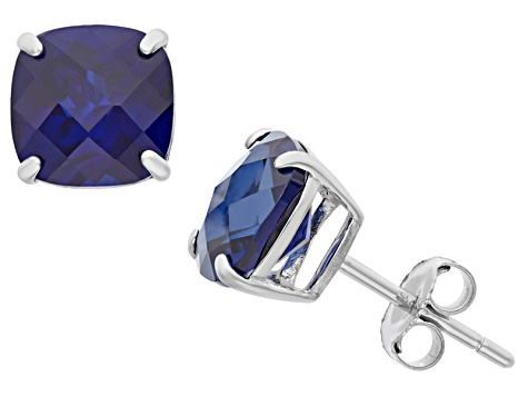 Lab Created Blue Sapphire Sterling Silver Stud Earrings 4.08ctw