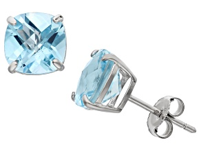 Blue Topaz Sterling Silver Stud Earrings 4.08ctw