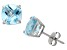 Blue Topaz Sterling Silver Stud Earrings 4.08ctw