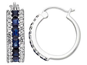 Lab Created Blue And White Sapphire Sterling Silver Hoop Earrings 1.92ctw