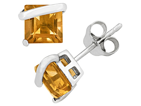 Citrine Sterling Silver Stud Earrings 2.48ctw