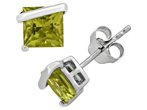Peridot Sterling Silver Stud Earrings 2.48ctw