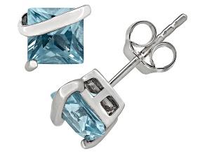 Blue Topaz Sterling Silver Stud Earrings 2.48ctw