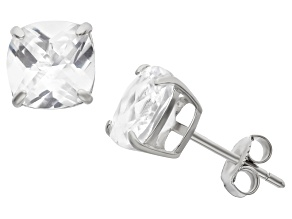 Synthetic White Sapphire Sterling Silver Stud Earrings 4.08ctw