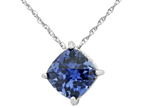 Lab Created Blue Sapphire Sterling Silver Pendant 2.04ctw