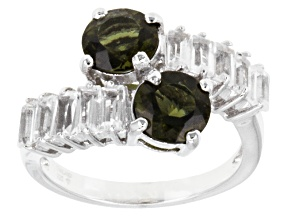 Green Moldavite Sterling Silver Bypass Ring 2.56ctw.