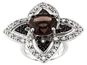 Brown Brazilian Smoky Quartz Sterling Silver Ring 6.44ctw.