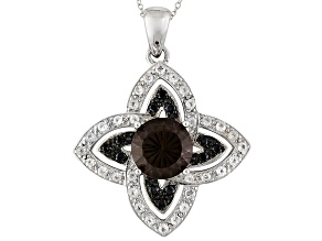 Brown Brazilian Smoky Quartz Sterling Silver Pendant With Chain 6.44ctw.