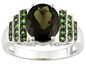Green Moldavite Sterling Silver Ring 2.89ctw