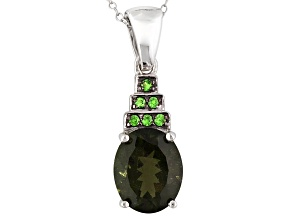 Green Moldavite Sterling Silver Pendant With Chain 2.48ctw