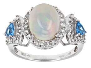 Multi Color Ethiopian Opal Sterling Silver Ring 3.30ctw