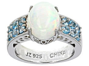 Multi Color Ethiopian Opal Sterling Silver Ring 3.06ctw