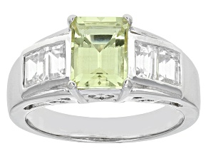 Yellow Apatite Sterling Silver Ring 2.99ctw