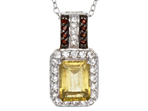 Mexican Yellow Apatite Sterling Silver Pendant With Chain.