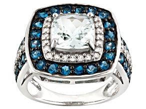 Blue Brazilian Aquamarine Sterling Silver Ring 3.07ctw
