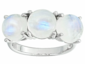 Multi Color Rainbow Moonstone Sterling Silver 3-Stone Ring
