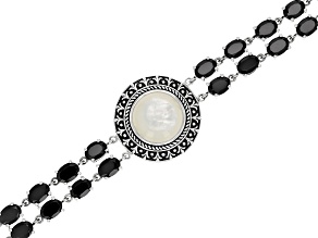White Mother Of Pearl Sterling Silver Bracelet 26.90ctw