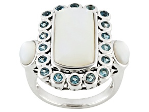 White Mother Of Pearl Sterling Silver Ring .72ctw